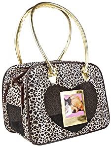 Gold Trim Leopard Pet Dog Cat Carrier from J Garden