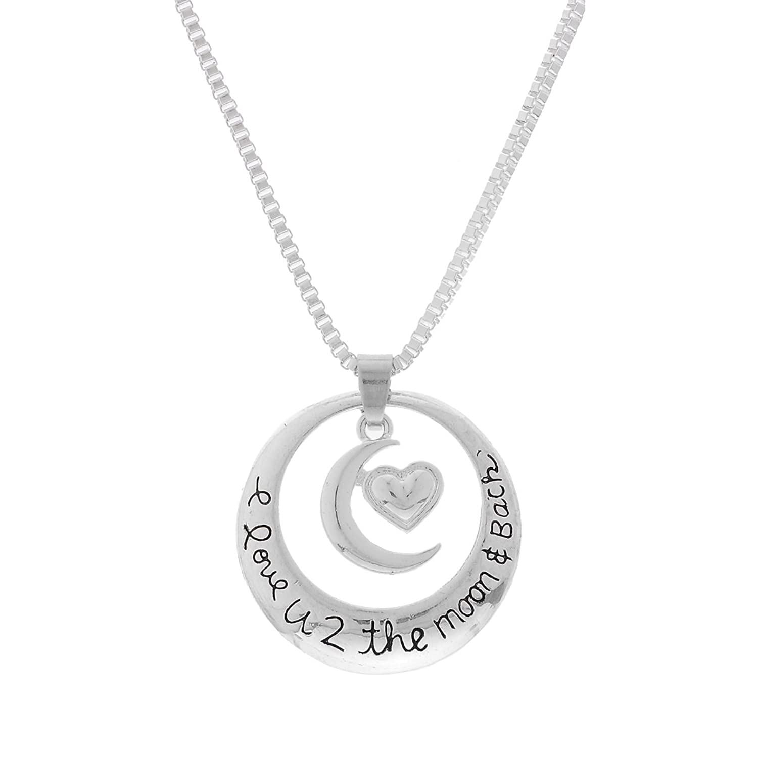 Encounter Silver Plated I Love You To The Moon and Back Sun Moon Hug Heart Pendant Necklace 46.8 cm подушка printio love you to the moon and back