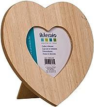 Artemio - Cornice in legno a forma di cuore, 17,5 x 17,5 cm, colore: beige