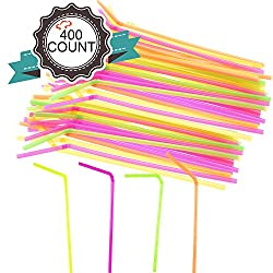 TigerChef TC-20366 Drinking Plastic Straws, Flexible Straws, BPA-Free, 8.25