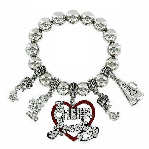 Crystal Cheer Leader Theme Charm Bracelet #033609