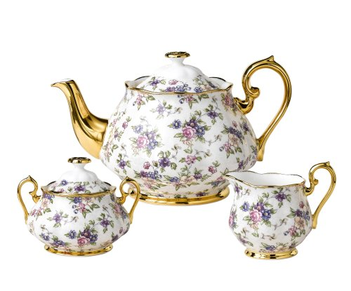 Royal Albert 100 Years of Royal Albert 3-Piece Tea Set, 1940 ?English Chintz Best Deals