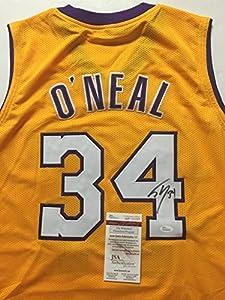 Autographed/Signed Shaquille Shaq O'Neal Los Angeles Lakers LA Basketball Jersey JSA COA