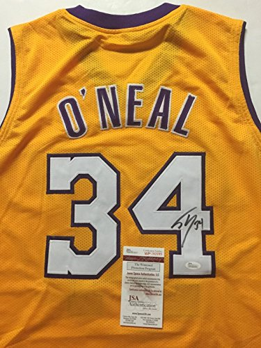 Autographed/Signed Shaquille Shaq O'Neal Los Angeles Lakers LA Basketball Jersey JSA COA