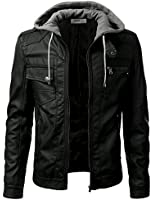 Wantdo Men's Fashion Faux Jackets Pu Leather Jackets With Removable Hood With Gift iDarbi Men s Premium PU