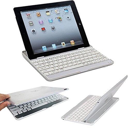 VSTNApple Ipad Air 2 ,ipad air 2 2014専用 脱着式Bluetooth キーボード ケース一体型 良質PUレザーケース付き(ブラック) (Ipad Air 2, アルミ合金キーボード(ホワイト))