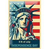 Tin Sign fourth July Independence Day Statue of Liberty with American flag comic cartoon satire 20x30 cm metal shield Shield Wall Art Deco decoration retro Advertising