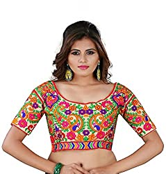 Puffin Fashion Multi Color Navratri Special Fabric Silk Embroidered Readymade Designer Fancy Blouse