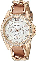 Fossil Women's ES3466 Riley Rose Gold-Tone Stainless Steel and Leather Watch with Crystal Accents