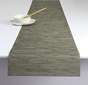 Amazon com chilewich bamboo table runner charcoal 14 quot x 72 quot
