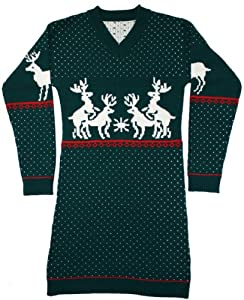 Ugly Christmas Sweater - Humping Reindeer Naughty Holiday Sweater Dress By Skedouche