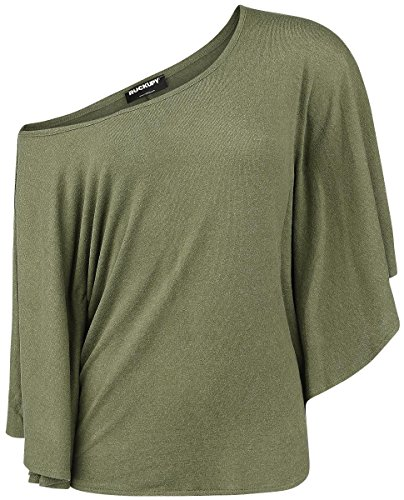 Rockupy Army Top Batwings Maglia donna verde oliva M