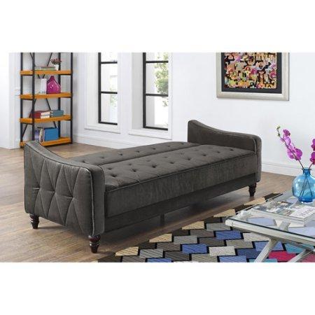 9 by Novogratz Vintage Tufted Sofa Sleeper II (Grey Velour)