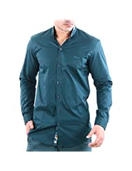 Feed Up Men's Satin Turquoise Slim Fit Shirt
