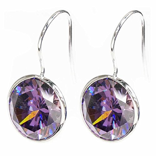 Queenberry Round Purple Cubic Zirconia Crystal Sterling Silver French Hook Dangle Earrings
