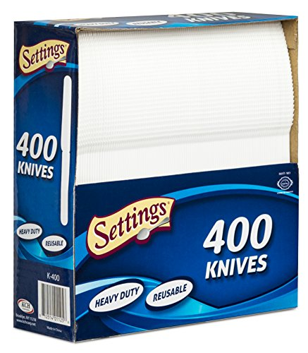 Settings 400 Count Disposable Plastic White Knives