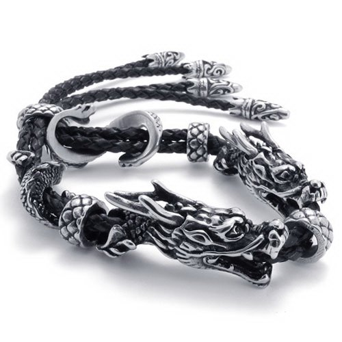 Vantasy High Quality Men's Fashion Stainless Steel Leather Dragon Hemp Buckle Beads Bangle Bracelet