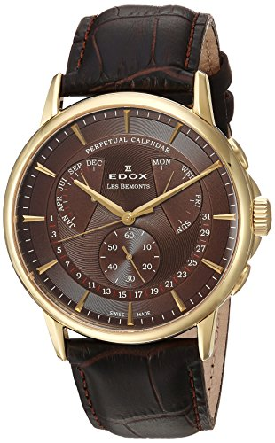 Edox-Mens-Les-Bemonts-Swiss-Quartz-Stainless-Steel-and-Leather-Dress-Watch-ColorBrown-Model-01602-37J-BRID