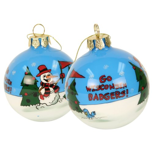Blown Glass Hand Painted Sports Christmas Ornaments – Wisconsin Badgers