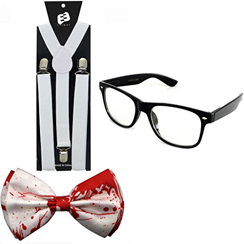 Enimay Suspender Bowtie Wayfarer Clear Glasses Nerd Costume Halloween White Blood