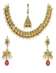 Shining Diva Gold Plated Jhumki Necklace Set With Maang-Tika For Women