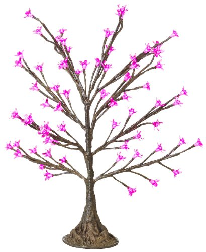 Arclite Nbl-050-2 Cherry Blossom Tree, 2.5' Height, With Natural Brown Trunk, Pink Crystals And Pink Lights