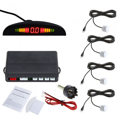 Led Car Parking Reverse Backup Radar Sensors System Anti-Freeze Rainproof With Backlight Display White
