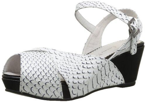 Couleur Pourpre  769,  Sandali donna Bianco Blanc (Snake Blanc-Noir) 40