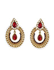 Crunchy Fashion The Claret Vivacity Traditional Chandbali Earring For Girls