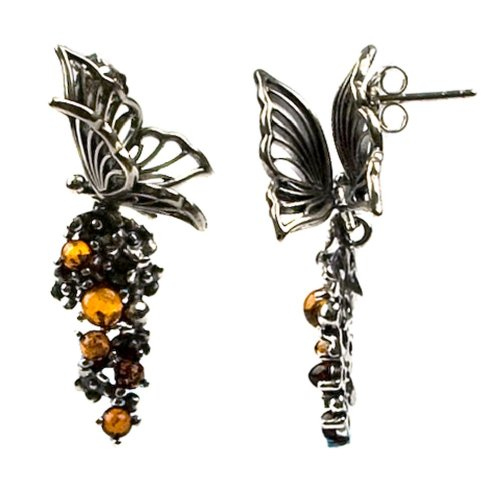 Sterling Silver Honey Amber Butterfly Earrings