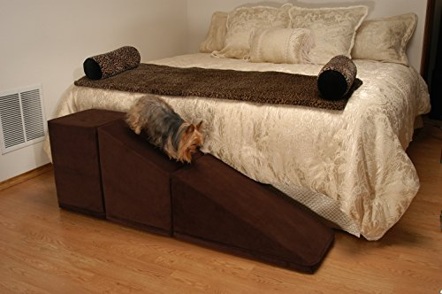 PuppyStairs 2-Piece Ramp with Cube -Chocolate Suede. All covers are removable, machine washable; Foam is Industrial grade high-density foam, which firmly supports Pets up to 60 pounds
