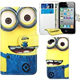 iPhone 4 4s Case, FoneExpert® Cute Minion Premium Leather Flip Book Wallet Case Cover For iPhone 4 4s + Screen Protector & Cloth
