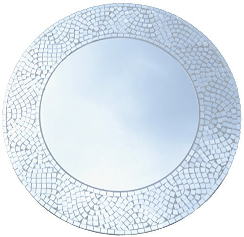 Lulu Decor, Silvershine Mosaic Wall Mirror, Decorative Round Wall Mirror, Diameter 23.5