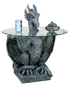 Design toscano dragon table with glass black resin 31 h 92257 by ack kitchen dining - Guarding dragon accent table ...