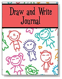 Draw and Write Journal For Children - Smiling stick kids decorate the cover of this draw and write journal for younger kids.