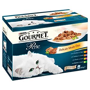 Purina Gourmet Perle Delicate Meats Duo Wet Cat Food 12 x 85 g (Pack of 4)