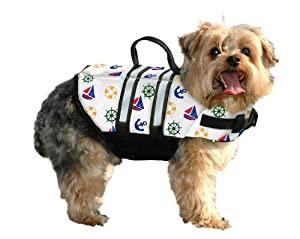 Paws Aboard Small Designer Doggy Life Jacket, Nautical print from Paws Aboard