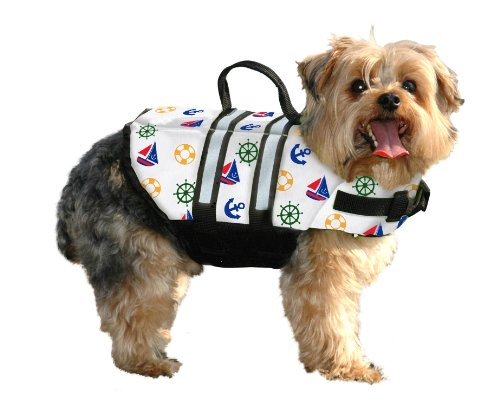 Paws Aboard Extra-Small Designer Doggy Life Jacket, Nautical print