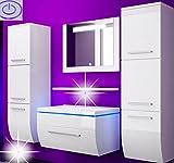 Badmöbelset Badezimmermöbel Komplett Set Waschbeckenschrank mit Waschtisch Spiegel 2 hochschränke