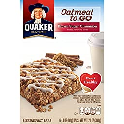 Quaker Chewy Oatmeal To Go, Brown Sugar Cinnamon, 6 Count (Pack of 6) 6-2.1 OZ BARS