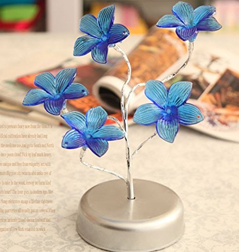 Creative Led Lamp, Energy-Saving Bed Lamp, Blue Flowers Night Light (Sparkling) front-993064