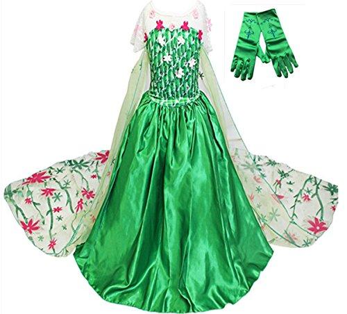GenialES® Disfraz Vestido con Guantes Verde de Princesa Largo Lindo Regalo para Cumpleaños Disfraz de Carnaval Fiesta Cosplay Boda Halloween para Niñas a Partir de 2 a 8 Años Talla130