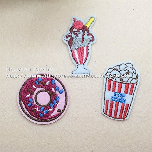 [FairyMotion Mixed 15 Pcs Popcorn And Drinks Embroidered Patch Iron On Motif Applique Dk Garment Embroidery Patch Diy Accessory Perfect] (Diy Popcorn Costume)