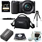 Sony NEX-5TL B 16.1MP Compact Interchangeable Lens Digital Camera (Black) + Sony NPFW50 Battery Pack + Sony Camcorder Case + Kit Bundle