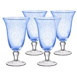 Artland Iris Seeded Light Blue 18 Ounce Footed Iced Tea Glass, Set of 6