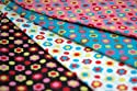 Funky Cream Pink Black and Blue Kids Childrens Fun Floral Fabric 4 Fat Quarter Fabric Bundle by Lecien - 100% Cotton