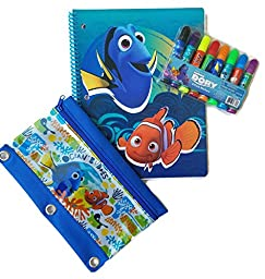 Finding Dory Back to School Supplies Bundle of 3 Includes Notebook, Set of 8 Markers and Pencil Pouch. Notebook Cover May Vary