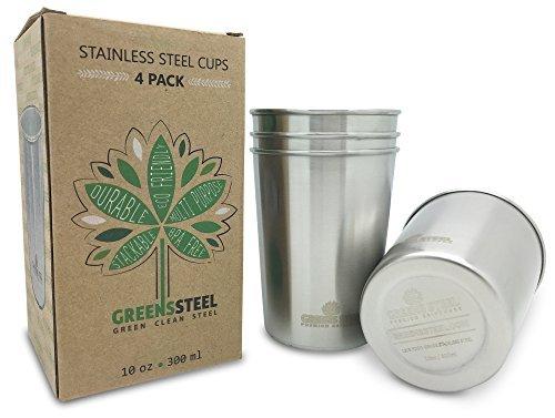 greens-steel-stainless-steel-kids-cup-4-pack-300ml-10oz-drinking-glasses-premium-stackable-18-8-food