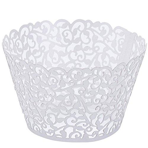 Jovivi Lot 25Pcs Emballages De Gâteau Caissettes De Cupcake Décoration Wrappers - Papier (Blanc)