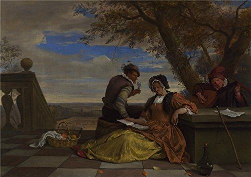 Oil Painting 'Jan Steen Two Men And A Young Woman Making Music On A Terrace ' Printing On High Quality Polyster Canvas , 8 X 11 Inch / 20 X 29 Cm ,the Best Bar Gallery Art And Home Artwork And Gifts Is This Imitations Art DecorativeCanvas Prints